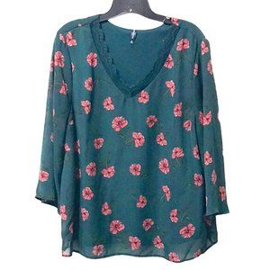 Massini Green Floral Sheer Lined Blouse